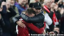 Soccer Football - Champions League Semi Final Second Leg - Liverpool v FC Barcelona - Anfield, Liverpool, Britain - May 7, 2019 Liverpool manager Juergen Klopp and Liverpool's Jordan Henderson celebrate after the match Action Images via Reuters/Carl Recine