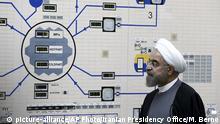 USA Iran Spannungen Symbolbild Rohani im Atomkraftwerk in Bushehr