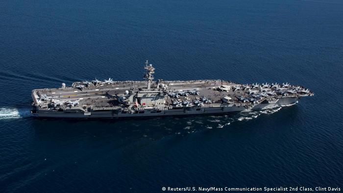 The USS Abraham Lincoln has been deployed to the Gulf to counter what Washington says are Iranian threats