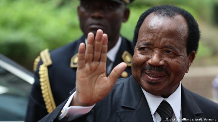 Cameroon's President Paul Biya waving