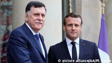 Frankreich Diplomatie l Präsident Emmanule Macron empfängt libyschen Premierminister Fayez al-Sarraj