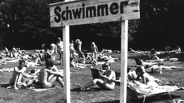 Nudist park and swimming pool in Hamburg, file picture from 1973