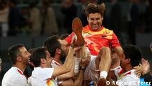 Tennis - ATP 1000 - Madrid Open - The Caja Magica, Madrid, Spain - May 8, 2019 Spain's David Ferrer is thrown in the air by his friends after losing his second round match against Germany's Alexander Zverev REUTERS/Sergio Perez TPX IMAGES OF THE DAY