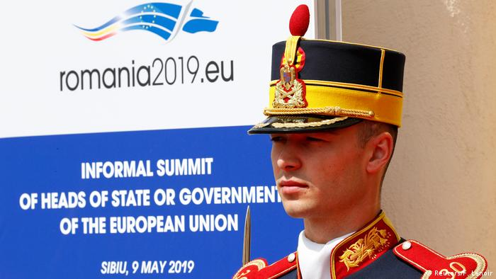 Guard in front of the summit venue