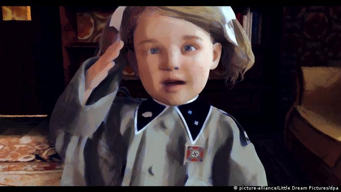 Desenho de uma criança vestida com uniforme nazista