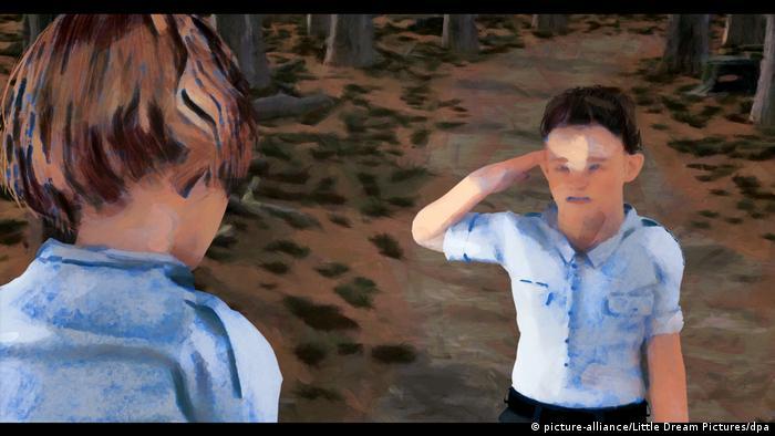 Animação mostra criança uniformizada fazendo continência para outra criança maior