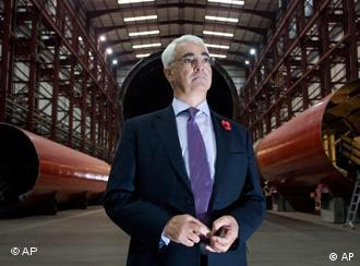 Britain's Chancellor of the Exchequer Alistair Darling, is seen during a visit to the factory of Pelamis Wave Power, a producer and supplier of commercial wave power generation equipment in Leith, Edinburgh, Scotland.