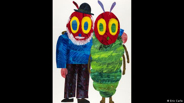Self-potrait of Eric Carle and the very hungry caterpillar, both with insect faces but one wearing a hat and a beard (Eric Carle)