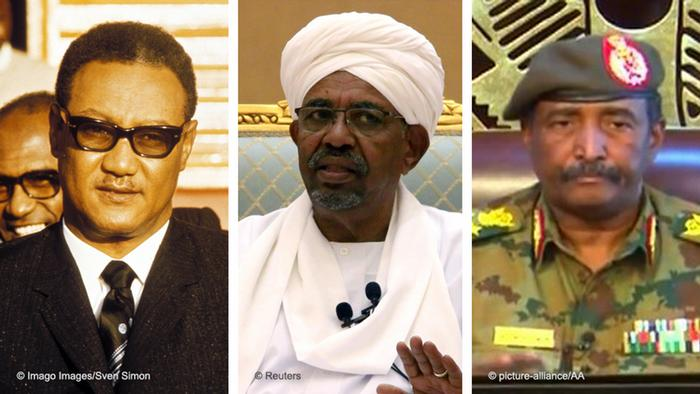 Bildkombo Sudan Gaafar Nimeiry / Omar al-Bashir / Abdel Fattah al Burhan