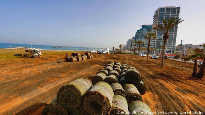 Building materials for the Eurovision Village in Tel Aviv