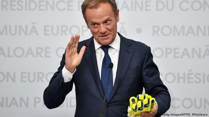 European Council President Donald Tusk at the EU Summit in Sibiu, Romania