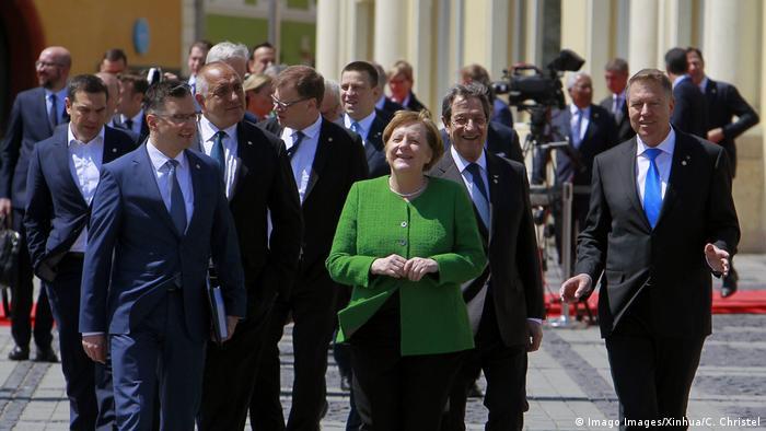 Rumänien Sibiu - Klaus Werner Iohannis und Angela Merkel zum EU Gipfel