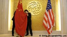 China Peking Fahnen China und USA