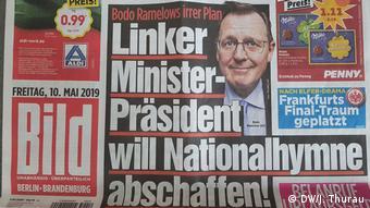 German Left party politician Bodo Ramelow in Bild newspaper