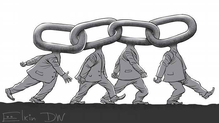 Четыре человека, у которых вместо голов звенья цепи, которой они соединены