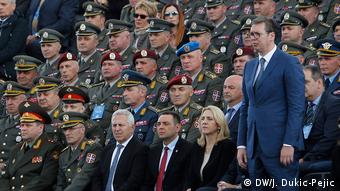 Aleksandar Vucic with Serbia's military officers (DW/J. Dukic-Pejic)