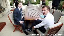 Frankreich Paris | Emmanuel Macron, Präsident & Mark Zuckerberg, CEO Facebook