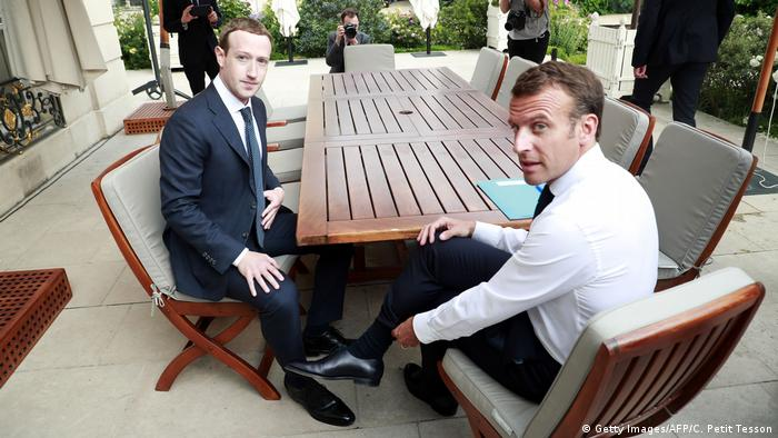 Mark Zuckerberg and Emmanuel Macron in Paris last week