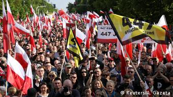 Far-right protesters marching in Warsaw on May 11