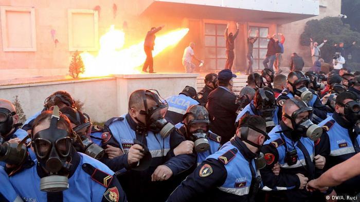 Albanien Tirana Anti Regierungsproteste