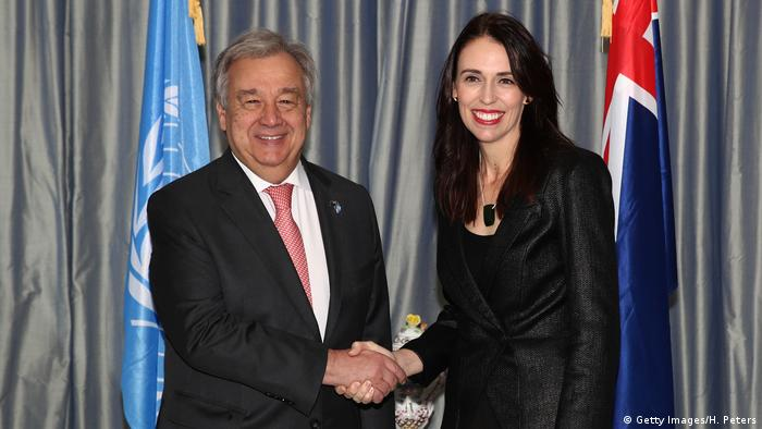 United Nations Secretary-General Antonio Guterres shakes hands with New Zealand Prime Minister Jacinda Ardern at Government House on May 12, 2019 in Auckland, New Zealand