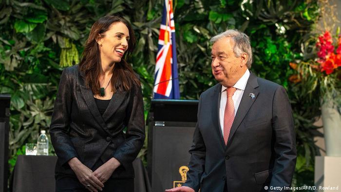 Neuseeland Auckland Antonio Guterres und Jacinda Ardern