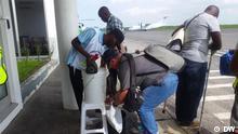 Mosambik Cholera Prävention am Flughafen in Pemba