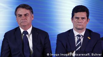 Brasilien Präsident Jair Bolsonaro und Justizminister Sergio Moro (Imago Images/Fotoarena/R. Buhrer)