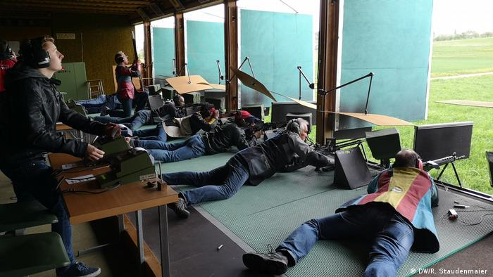 Participants take place in a shooting festival in Märwil, Switzerland