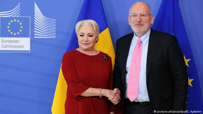 Dancila - Timmermans Treffen in Brüssel (picture-alliance/dpa/D. Aydemir)