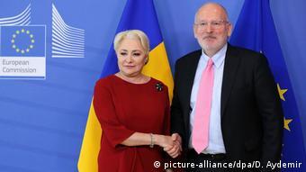 Dancila - Timmermans Treffen in Brüssel (picture-alliance/dpa/D. Aydemir)