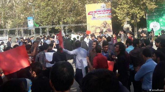 Iran Protest gegen Kopftuch-Pflicht an der Universität Teheran (ensafnews)