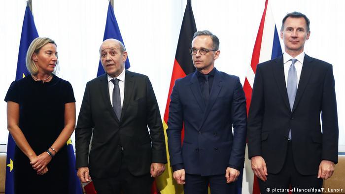Brüssel Treffen EU-Außenminister Mogherini, Le Drian, Maas und Hunt (picture-alliance/dpa/F. Lenoir)