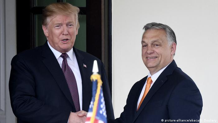 President Donald Trump welcomes Hungarian Prime Minister Viktor Orban to the White House in Washington, D.C., on May 13, 2019.