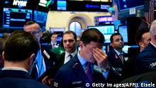 Traders work after the opening bell at the New York Stock Exchange (NYSE) during Pinterest's IPO debut on April 18, 2019 in New York City. (Photo by Johannes EISELE / AFP) (Photo credit should read JOHANNES EISELE/AFP/Getty Images)