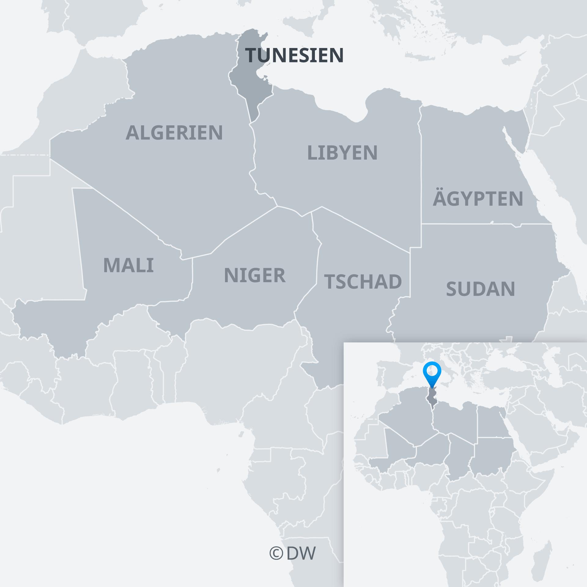 Karte Tunesien und Nachbarländer DE