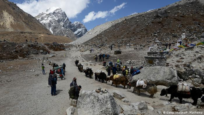 A small group of people makes its way through the Himalayas which have no ice or snow (Getty Images/P. Mathema)