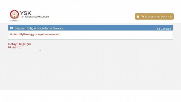 Screenshot Internetseite der türkischen Wahlbehörde