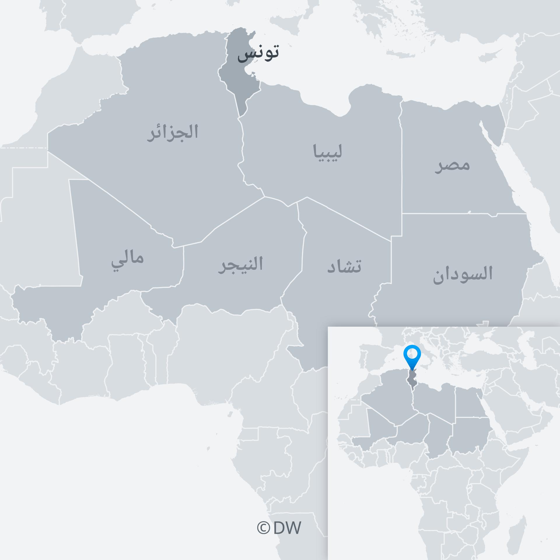 Karte Tunesien und Nachbarländer AR