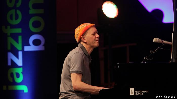Django Bates performs on the piano at Jazzfest (WPR Schnabel)