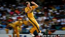 BRIDGETOWN, BARBADOS - APRIL 28: Glenn McGrath of Australia in action during the ICC Cricket World Cup Final between Australia and Sri Lanka at the Kensington Oval on April 28, 2007 in Bridgetown, Barbados. (Photo by Clive Mason/Getty Images)