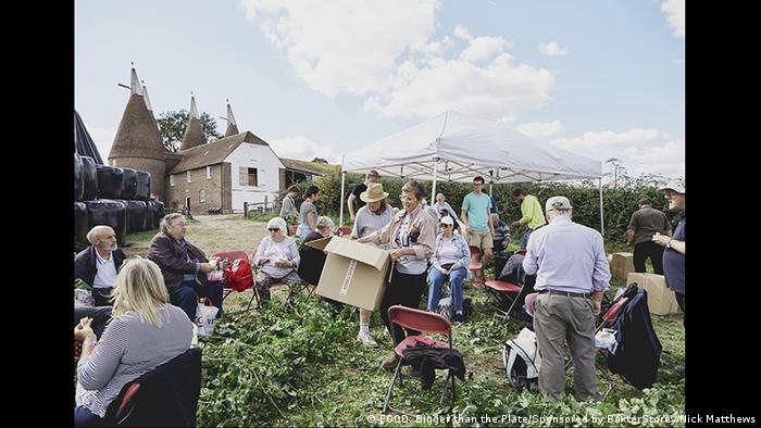 People sitting in a farm field (FOOD: Bigger than the Plate/Sponsored by BaxterStorey/Nick Matthews)