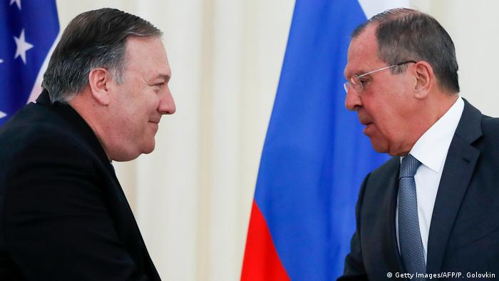 Держсекретар США Майк Помпео (ліворуч) та голова МЗС РФ Сергій Лавров