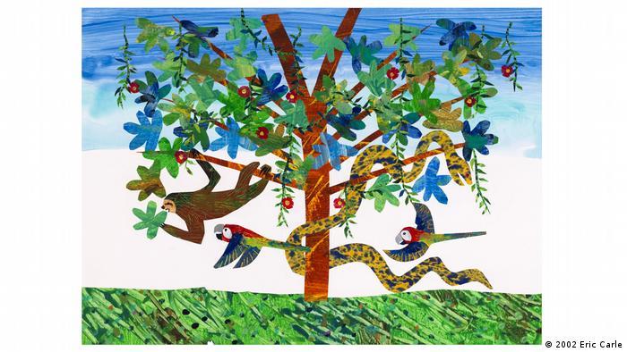 Illustration von Eric Carle aus Ganz, ganz langsam, sagte das Faultier. (2002 Eric Carle)