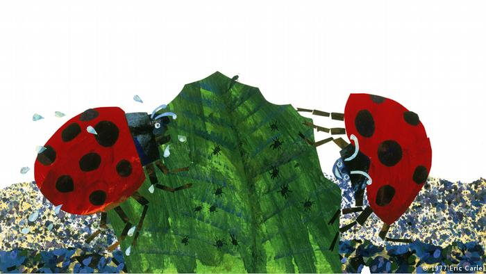 page from book by Eric Carle that shows to bugs on a leaf (1977 Eric Carle)