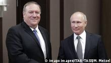 SOCHI, RUSSIA - MAY 14, 2019: US Secretary of State Mike Pompeo (L) and Russia s President Vladimir Putin shake hands during a meeting at Bocharov Ruchei residence. Mikhail Metzel/TASS PUBLICATIONxINxGERxAUTxONLY TS0AB5AF
