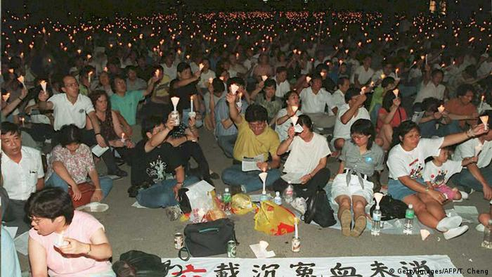 Hongkong Demonstration zum Gedenken an Tiananmen-Massaker in Victoria Park (1989)