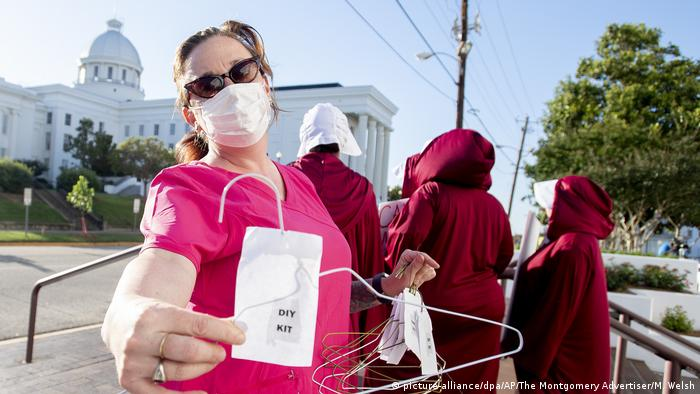 Opponents of legislation to restrict abortion in Montgomery, Alabama