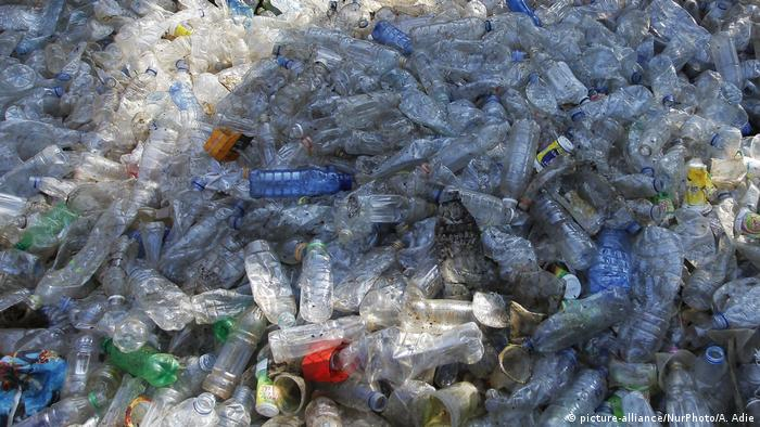 Plastic bottles and other garbage collected in Indonesia
