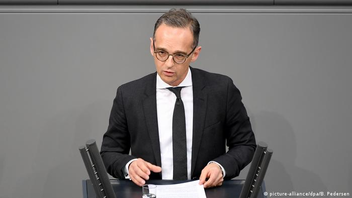 German Foreign Minister Heiko Maas addresses a special session of the Bundestag on the Iran nuclear deal